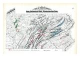 1872  Iron  Anthracite Coal  Petroleum and Zinc Map  Pennsylvania  United States