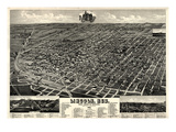 1889  Lincoln 1889 Bird's Eye View  Nebraska  United States