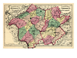 1873  Hunterdon and Somerset County Topographical Map  New Jersey  United States