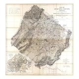 1870  Augusta County Wall Map  Virginia  United States