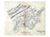 1860s, Roanoke County Wall Map, Virginia, United States Giclée