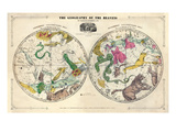 1835, Geography of the Heavens, Northern - Southern Giclée