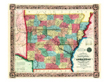 1854  Arkansas State Map  Arkansas  United States
