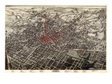 1892, Atlanta Bird's Eye View, Georgia, United States Giclée