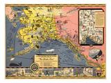 1934  Alaska State Map from Steamship Line  Alaska  United States