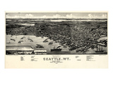 1884  Seattle Bird's Eye View  Washington  United States