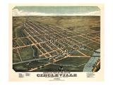 1876  Circleville Bird's Eye View Ohio  United States