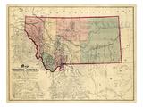 1865, Montana Wall Map, Montana, United States Giclée