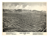 1875, Salt Lake City Bird's Eye View, Utah, United States Giclée