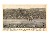 1877, Cleveland Bird's Eye View, Ohio, United States Giclée