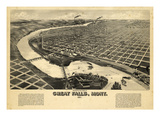 1891  Great Falls Bird's Eye View  Montana  United States