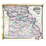 1876  Missouri Railroad Map  Missouri  United States