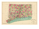 1893  Connecticut State Map  Connecticut  United States