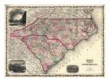 1861  North Carolina and South Carolina State Map  North Carolina  United States