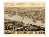 1869  Jefferson City Bird's Eye View  Missouri  United States
