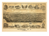 1880  Paterson Bird's Eye View  New Jersey  United States