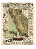 1895  California State Map Roads for Cyclers  bicycling  California  United States