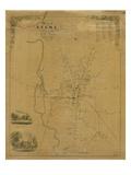 1853  Keene Wall Map  New Hampshire  United States