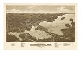 1885  Oconomowoc Bird's Eye View  Wisconsin  United States