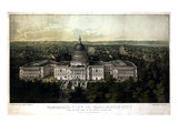 1857, Washington City and Capitol 1857c Bird's Eye View, District of Columbia, United States Giclée