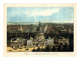 1871  Washington City and Capitol Bird's Eye View  District of Columbia  United States