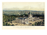 1856  Washington City and Capitol  Bird's Eye View  District of Columbia  United States