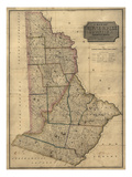 1814  Wayne and Pike Counties Wall Map  Pennsylvania  United States
