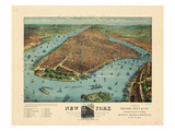 1879  New York City 1879 Bird's Eye View  New York  United State