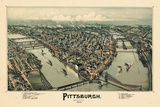 1902, Pittsburgh Bird's Eye View, Pennsylvania, United States Giclée