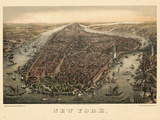 1873, New York City, 1873, Bird's Eye View, New York, United States Reproduction d'art