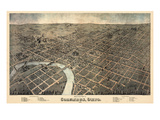 1872  Columbus Bird&#39;s Eye View  Ohio  United States