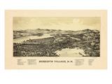 1889  Meredith Village Bird's Eye View  New Hampshire  United States