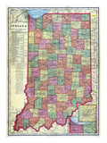 1909, Indiana State Map, Indiana, United States Giclée