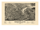 1884  Exeter Bird's Eye View  New Hampshire  United States
