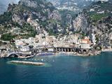 High Angle View of a Town  Amalfi  Atrani  Amalfi Coast  Salerno  Campania  Italy