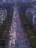 High Angle View of Traffic on the Road  Avenue Des Champs-Elysees  Paris  Ile-De-France  France