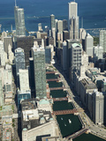Aerial View of a City with Lake Michigan in the Background  Trump Tower  Chicago River  Chicago