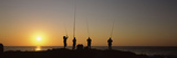 Silhouette of Fishermen Fishing in River at Sunset  Scottburgh  Kwazulu-Natal  South Africa