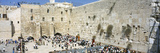 Crowd Praying in Front of a Stone Wall  Wailing Wall  Jerusalem  Israel
