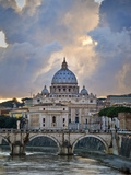 Arch Bridge across Tiber River with St Peter's Basilica in the Background  Rome  Lazio  Italy