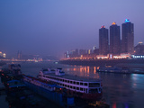 Ships at River Port Area at Evening  Chaotianmen Square  Chongqing  Yangtze River  Chongqing Pro