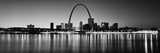 City Lit Up at Night  Gateway Arch  Mississippi River  St Louis  Missouri  USA