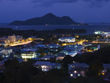 Cityscape Lit Up at Dusk Viewed from Beau Vallon Road  Victoria  Mahe Island  Seychelles