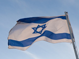 Low Angle View of an Israeli Flag Fluttering  Israel