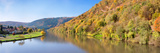 River Flowing in a Valley in Autumn  Neckar River  Neckargemund  Baden-Wurttemberg  Germany