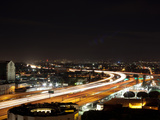 Streaks of Lights of Night Traffic  Los Angeles  California  USA