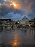 Arch Bridge across Tiber River with St Peter&#39;s Basilica in the Background  Rome  Lazio  Italy