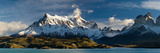 Lake in Front of Mountains  Lake Pehoe  Cuernos Del Paine  Paine Grande  Torres Del Paine Nation