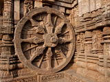 Architectural Detail of Stone Carved Chariot Wheel in the Temple  Sun Temple  Konark  Orissa  India