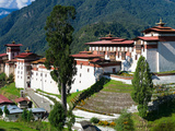 High Angle View of a Fortress in the Mountains  Trongsa Dzong  Trongsa  Bhutan